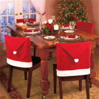 1pcs Santa Clause Cap Red Hat Furniture Chair Back Cover Christmas Dinner Table Party Xmas  Year Decoration