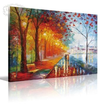 Canvas Wall Art Palette Knife Abstract Modern Oil Paintings Pictures City Street