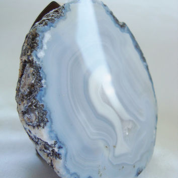 Polished Blue & White Agate Geode Half on Stand