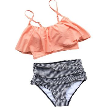 Fashion Women Falbala High-waisted Bikini Set