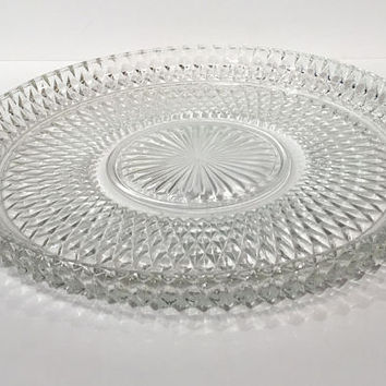 Diamond Point Cake Plate, Diamond Torte Plate,  Serving Platter, Appetizer Tray