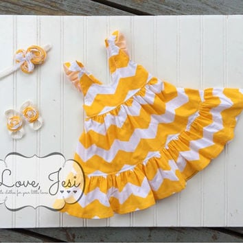Baby Girls Yellow Chevron Twirly Ruffle Dress, Chevron Baby Dress, Flutter Sleeve Baby Dress, Yellow and White Chevron Dress, Easter Dress