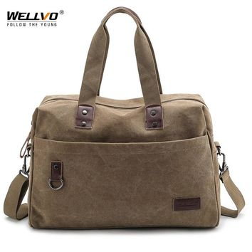 Wellvo Men Large Travel Duffle Canvas Luggage Handbag Weekend Overnight Portable Bag Black Trip Tote Solid Crossbody Bags XA71WC