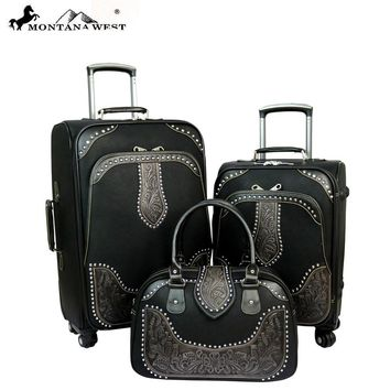Montana West Tooled Leather Collection 3 PC Luggage Set (Available in 2 colors)