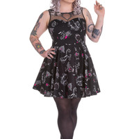 Hell Bunny Goth Rockabilly Perfume Skull Roses Bat Kalonice Mini Dress