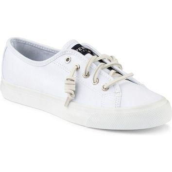 Women's Seacoast Canvas Sneaker in White by Sperry