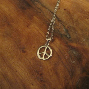 Peace Sign Necklace - Silver Peace Sign Necklace - Silver Necklace - Small Peace Sign Necklace - Jewelry
