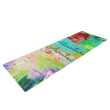 "Ebi Emporium ""Adventure Awaits"" Painting Typography Yoga Mat"