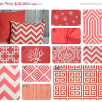 ON SALE Coral Pillow. Throw Pillow. Accent Pillow. Home Decor. Pillows. Premier Pints. Lumbar Pillow. Euro Sham