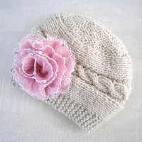 Baby Girl Hat - Baby Girl Knit Hat - Knit Newborn Hat - Baby Winter Hat