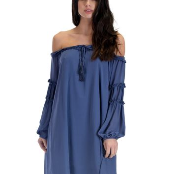 SL3719 Dusty Long Sleeve Off Shoulder Shift Dress With Ruffled Trim And Tassel Tie