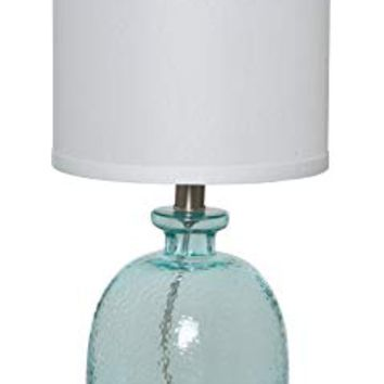 "Catalina Lighting 20687-000 Penny 18"" Ocean Blue Glass Table Lamp with Linen Shade"