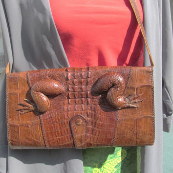 Alligator clutch handbag purse vintage