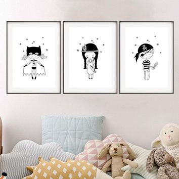 Cartoon Pirate Super Hero Prints and Posters Minimalist Black and White  Wall Art Pictures for Kids girls Room  Home Wall Decor