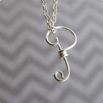 FREE SHIPPING!!!  Initial P Wire Word Pendant Necklace Cursive