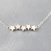 Star Bracelet  Tiny Silver Puffy Stars  Shooting Stars by junghwa