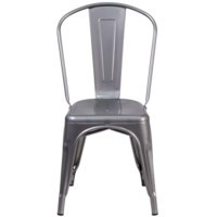 Farmhouse Industrial Gunmetal Stackable Dining Chairs (Set Of Two)