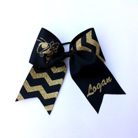 Black and Gold Personalized Cheer Bow, Yellow Jackets Cheer Bow, Cheer Camp, Competition Cheer Bow, Custom made for Your Team