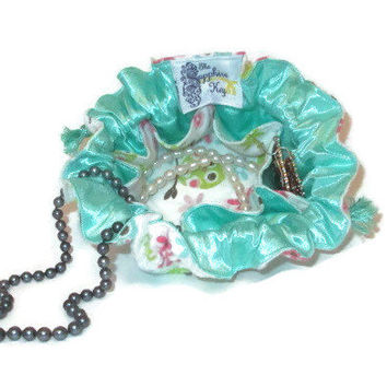 Drawstring Travel Jewelry Pouch / Satchel - Flannel Pastel Owls with Mint Blue / Green Satin