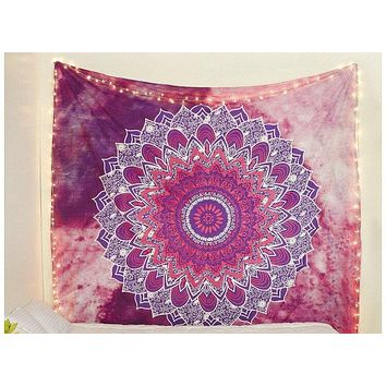 Pink Purple Flower Mandala Tapestry  84x90in
