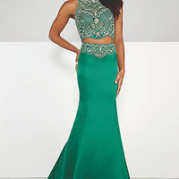 Two Piece High Neck Long Prom Dress from Paris by Mon Cheri
