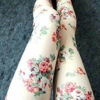 Retro Flower Rose Print Leggings