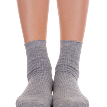 Solid Ankle Socks Gray