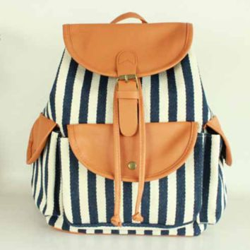 Blue and White Striped Travel Bag Canvas Lightweight Backpack