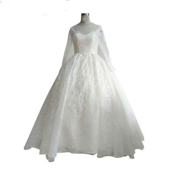 Romantic sheer back Wedding Dress Luxury Bead Lace Appliques long sleeves Sweetheart Ball Gown