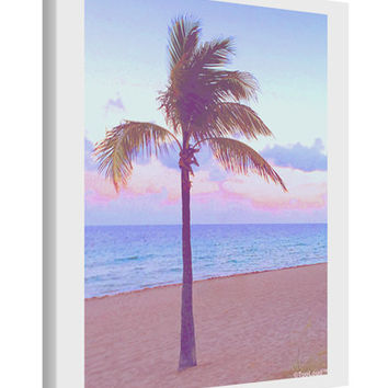 Palm Tree Beach Filter Printed Canvas Art Portrait - Choose Size