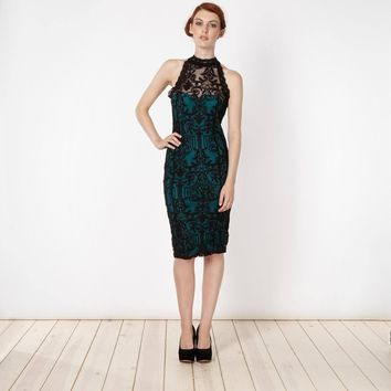 Lipsy High Neck Baroque Green Lace Dress