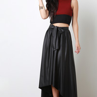 Vegan Leather Pleated High-Low Bow Skirt