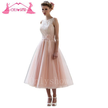 Pink Tea-Length Bridesmaid Dresses Formal Boat Neck Organza Lace Pleated Back Buttons Vestido De Festa Plus Size