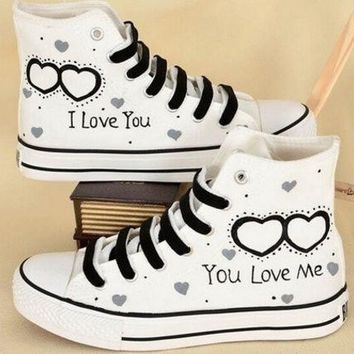 PEAPIX3 I Love You High Upper Plimsolls for Couples, Hand Painted Shoes.