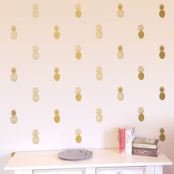 Pineapple Wall Decals - 24 Modern Vinyl Decals, Unique Gold Decor, Pineapple Decal, Wall Stickers, Cute Wall Decor for Gifts and More!