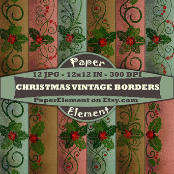 Christmas Digital Paper Pack of Poinsettia Vintage Border Backgrounds Red Green and Gold - Instant Download - Patterned Digital Scrapbooking