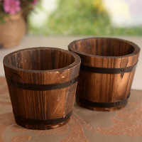 Wood Wooden Round Barrel Planter Flower Pots Home Office Garden Wedding Decor 3C