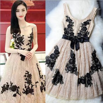 SEXY LACE VEST LONG APRICOT EMBROIDERY HOMECOMING DRESS