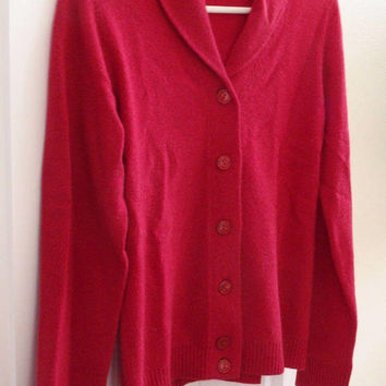 Peck & Peck Shawl Collar Cashmere Cardigan Sweater Red Size Small Vintage