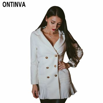 Office Lady Long Elegant White Pleated Blazers Double Breasted V Neck Long Sleeve Jacket Plus Size Suit Coat Outwear Blazers