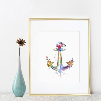 Nautical Anchor Watercolor Art Print Sea Painting Anchor Poster Beach Decor Sea Watercolor  Mediterranean Home Decor Nautical