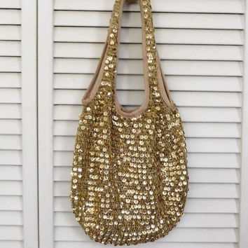 Boho Hobo Bag Gold Hobo Bag Crochet Hobo Bag Shoulder Sling Slouch Bag Boho Gold Purse Gold Sequin Purse Cowgirl Glam Bag Gypsy Hobo Purse