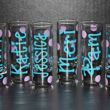 Personalized 1.5oz - 2oz. Shot Glasses, perfect for gifts, bridesmaids, or girls night!