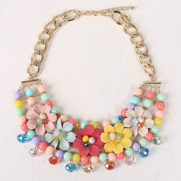 Beads With Flowers Bid Necklace