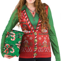 Faux Real - Ugly Christmas Vest Juniors Long Sleeve T-Shirt