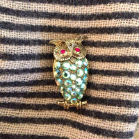 Aurora Borealis German Owl Brooch - AB rhinestones - vintage blue green crystal rhinestone - West Germany - gold bird animal forest nature