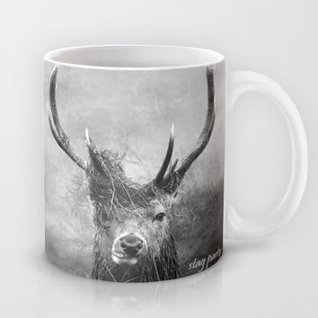 Stag Party Black And White Mug by Linsey Williams Photography