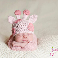 Newborn Gina the Giraffe Newborn Hat, Photography Prop