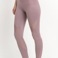 active hearts - athletic leggings with mesh insert - light mauve