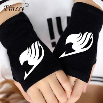Cool Attack on Titan Anime Fairy Tail Guild Finger Cotton Knitting Wrist Gloves Mitten Lovers Accessories Cosplay Warm Cospaly Fingerless Gloves AT_90_11